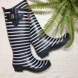 Joules • striped knee high wellies rain boots